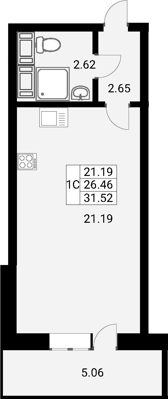 Студия, 31.52 м²