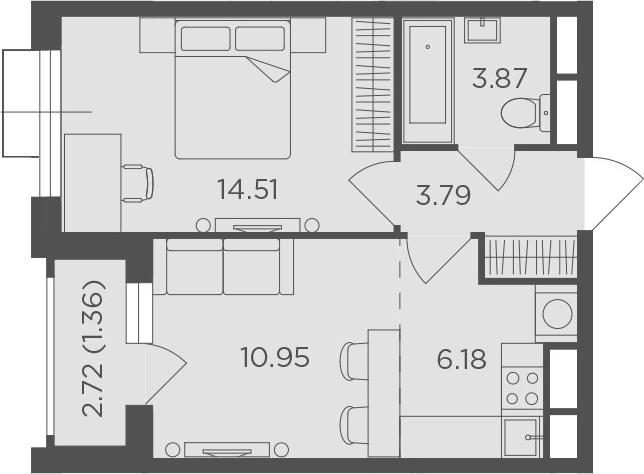2Е-к.кв, 40.66 м²
