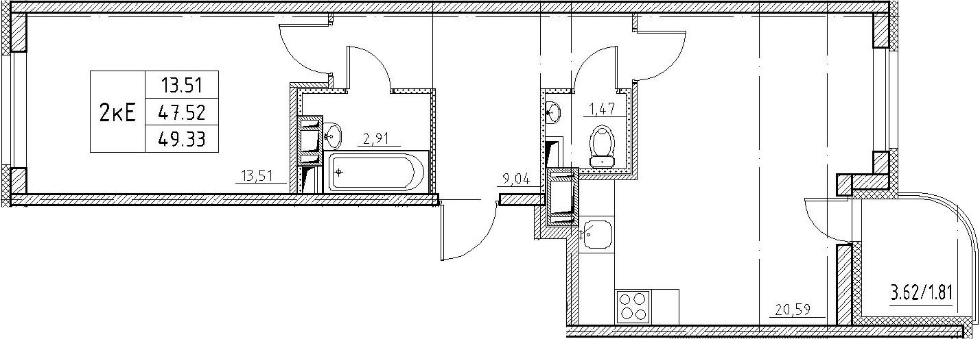 2-к.кв (евро), 51.14 м²