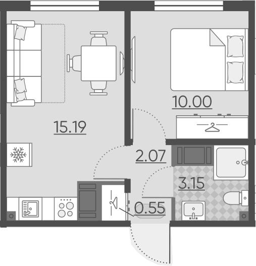 2Е-комнатная, 30.96 м²– 2