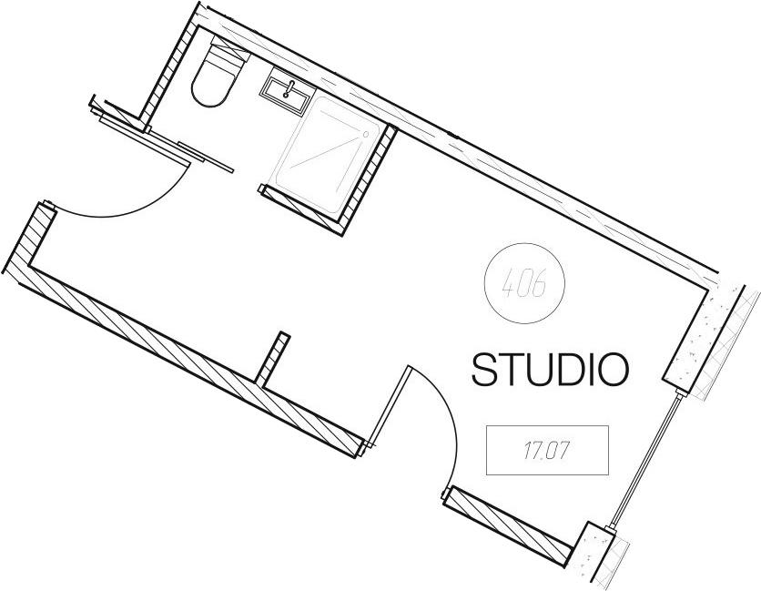 Студия, 17.07 м²– 2