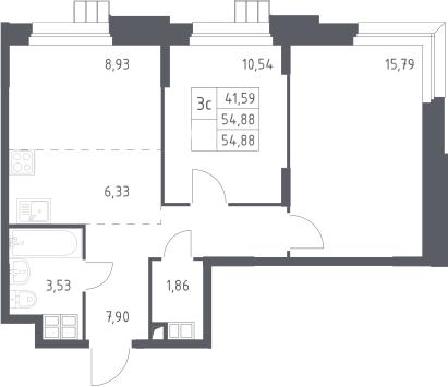 3Е-к.кв, 54.88 м², 13 этаж