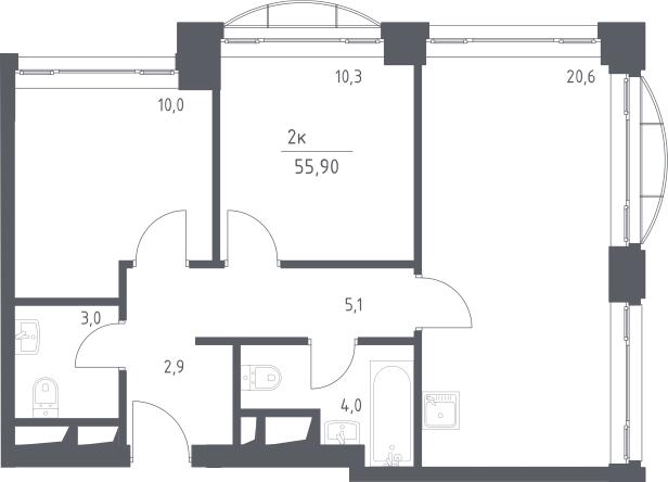 3Е-к.кв, 55.9 м², 3 этаж
