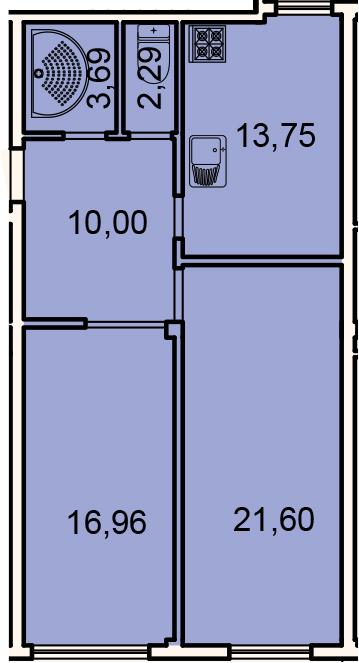 2-к.кв, 68.3 м²