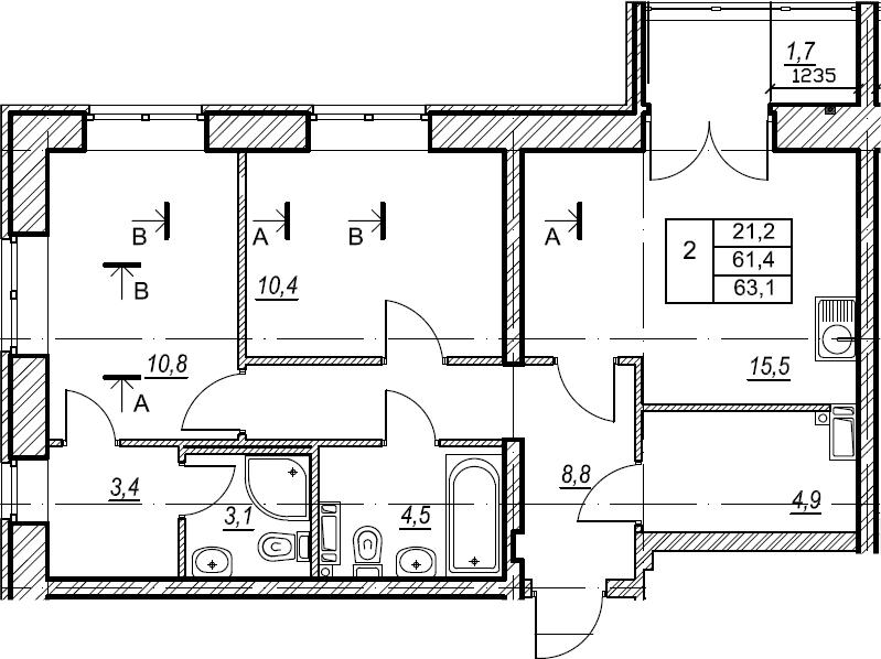 2-комнатная, 63.1 м²– 2
