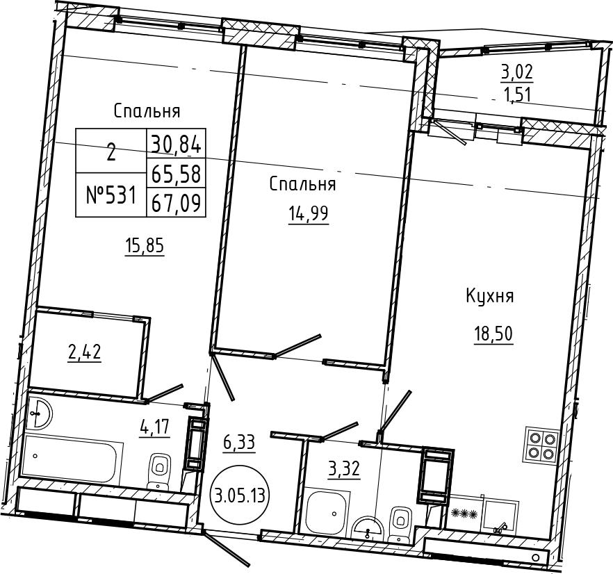 3Е-комнатная, 67.09 м²– 2