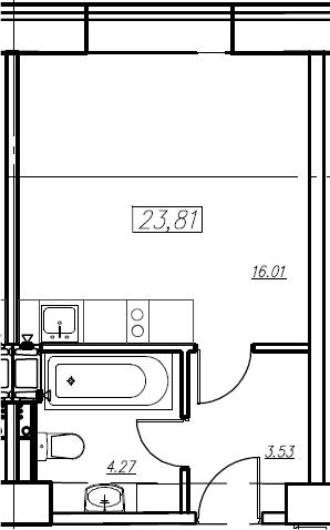 Студия, 23.81 м²