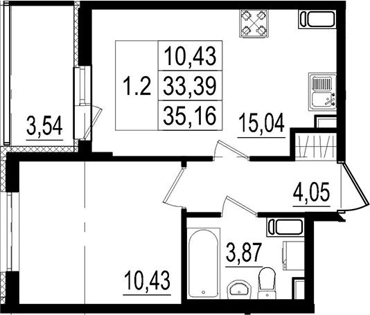 2Е-комнатная, 33.39 м²– 2