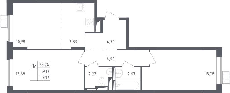 3Е-к.кв, 59.17 м²