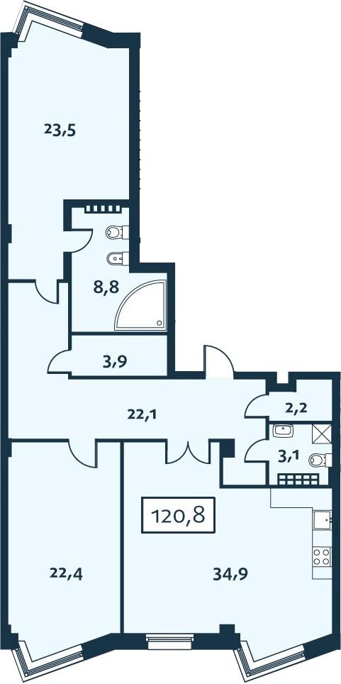 3Е-к.кв, 120.84 м², 5 этаж