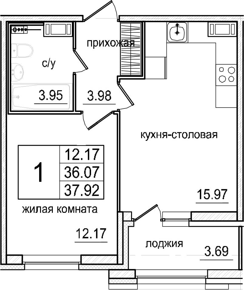 2Е-комнатная, 37.92 м²– 2