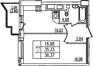 1-комнатная, 36.37 м²– 2