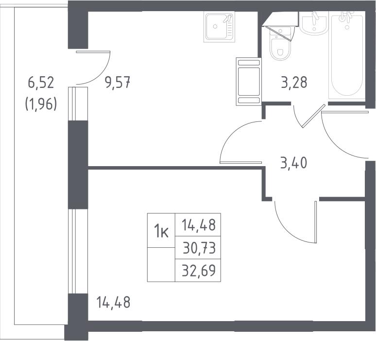 1-к.кв, 32.69 м², от 2 этажа