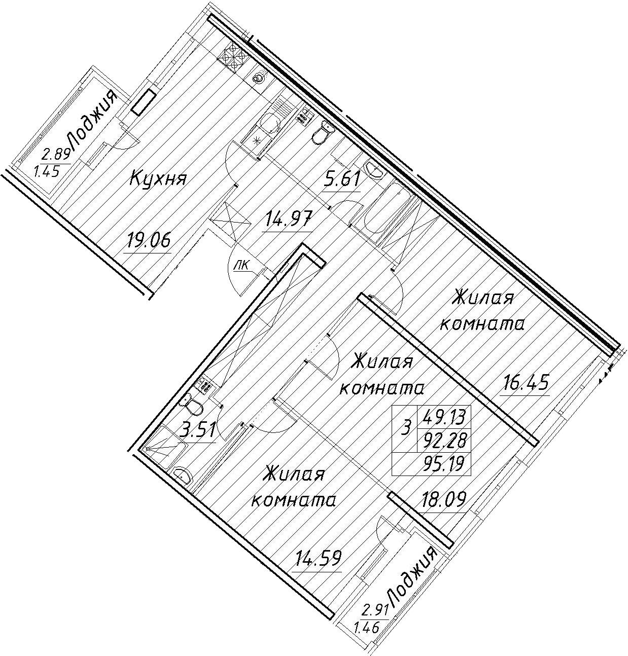 4-к.кв (евро), 98.1 м²