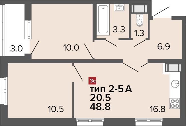 3-к.кв (евро), 51.8 м²