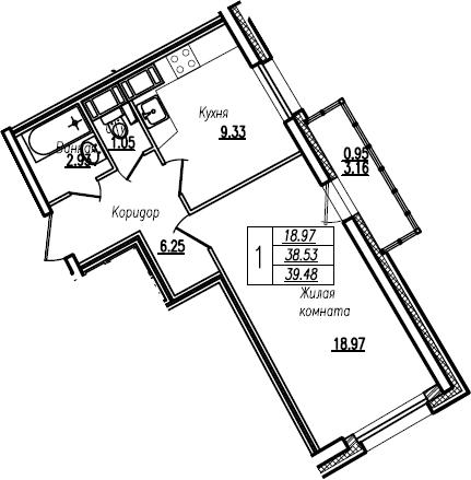 1-комнатная, 39.48 м²– 2