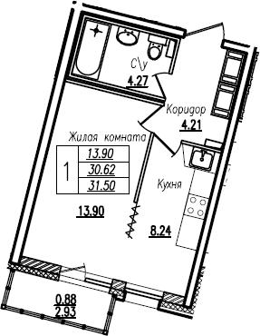 1-комнатная, 31.5 м²– 2