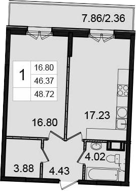 1-к.кв, 48.72 м²