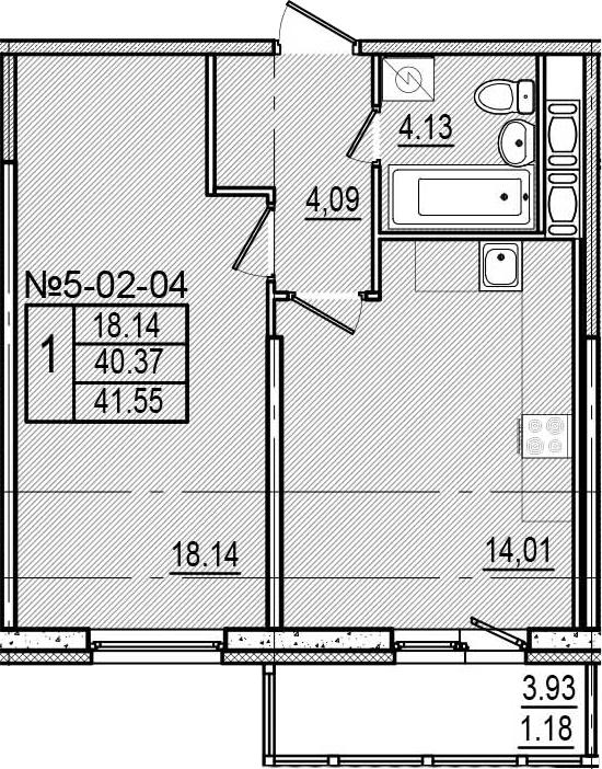 1-к.кв, 44.3 м²