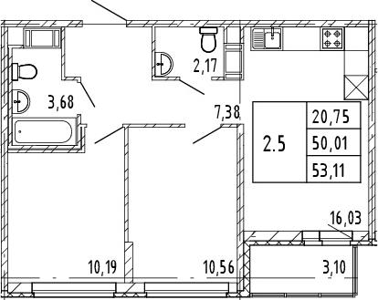 3Е-к.кв, 50.01 м², от 7 этажа