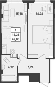1-к.кв, 42.8 м²