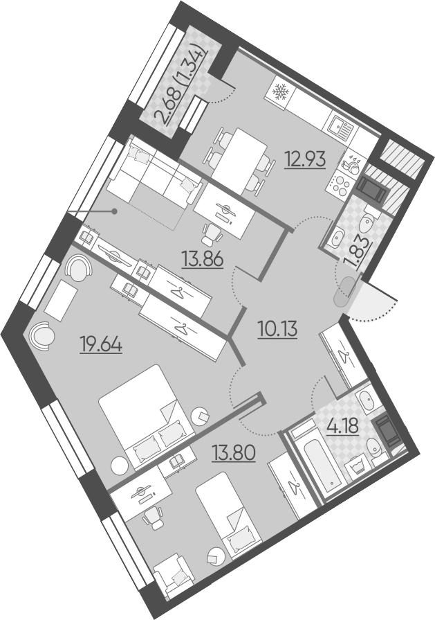 4-к.кв (евро), 79.05 м²