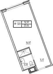 Студия, 25.64 м²– 2
