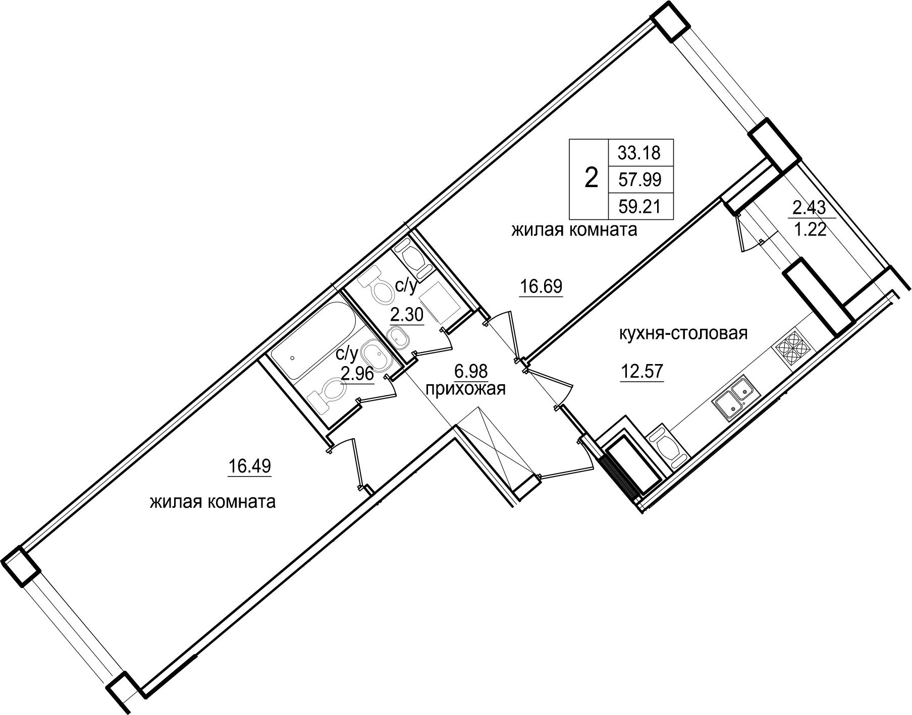 2-к.кв, 59.21 м²