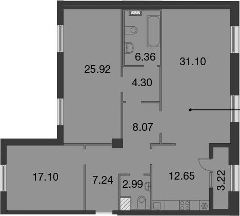 3-к.кв, 117.34 м²