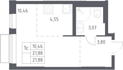Студия, 21.88 м²– 2