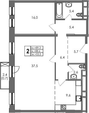 2-к.кв, 90.93 м²