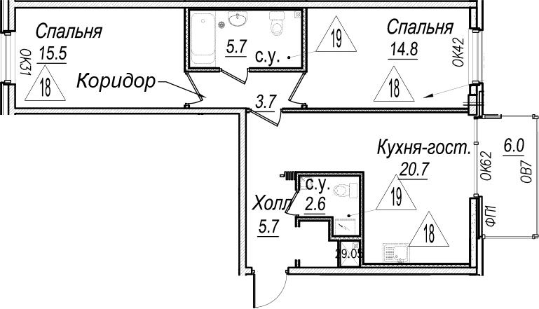 3-к.кв (евро), 74.7 м²