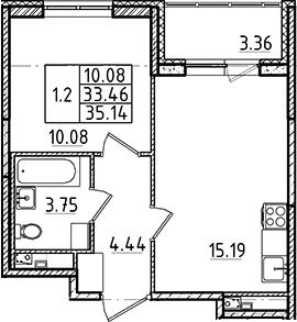 2Е-комнатная, 33.46 м²– 2