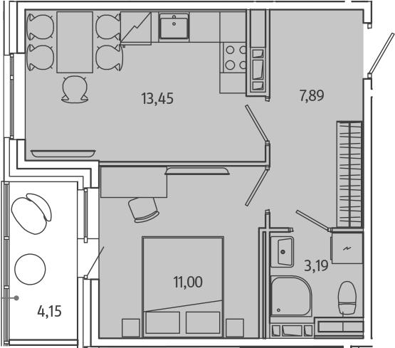 1-комнатная, 37.61 м²– 2