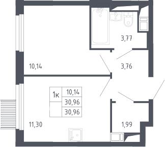 1-к.кв, 30.96 м², 8 этаж
