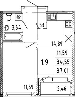 2Е-комнатная, 37.01 м²– 2