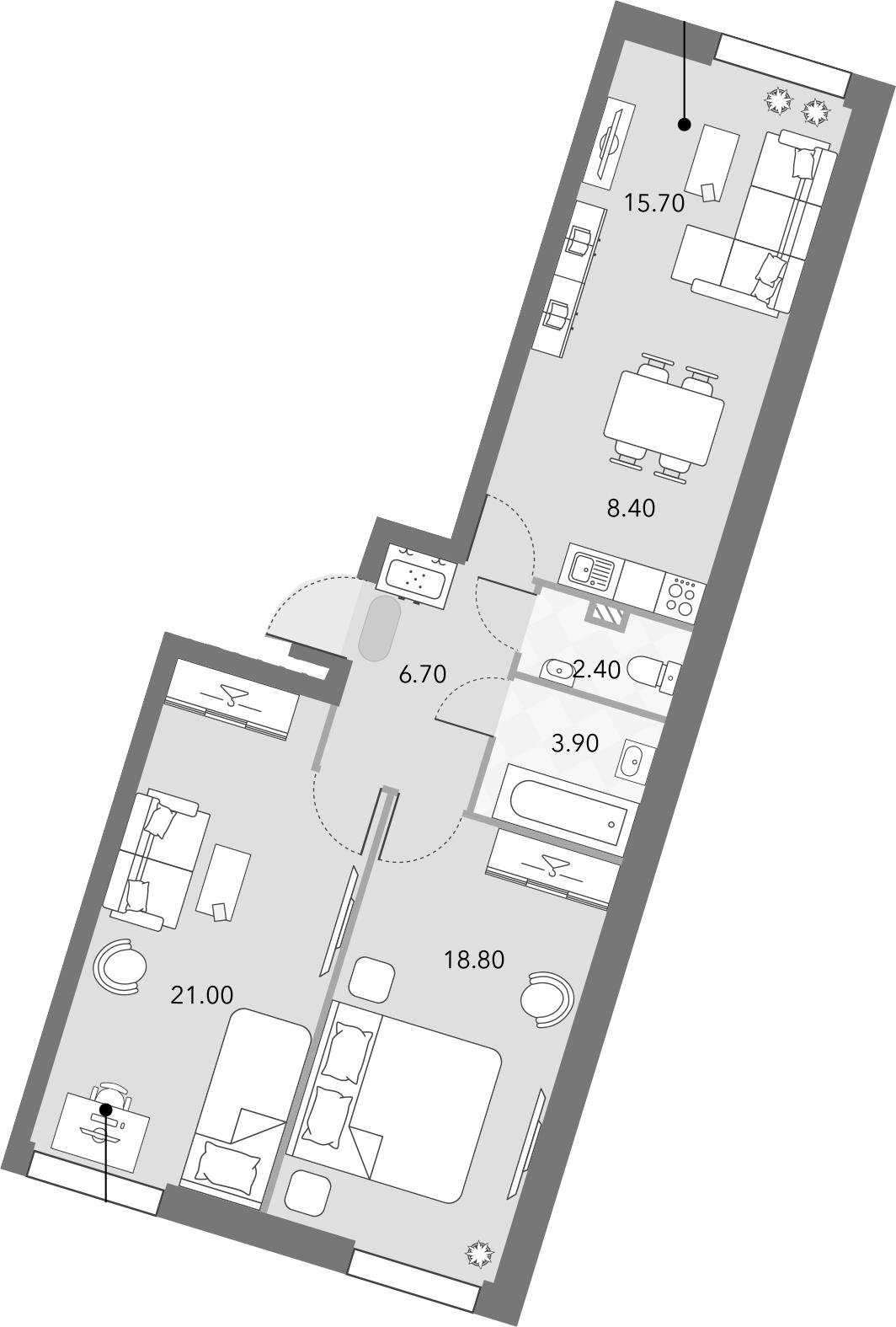 3Е-комнатная, 76.9 м²– 2