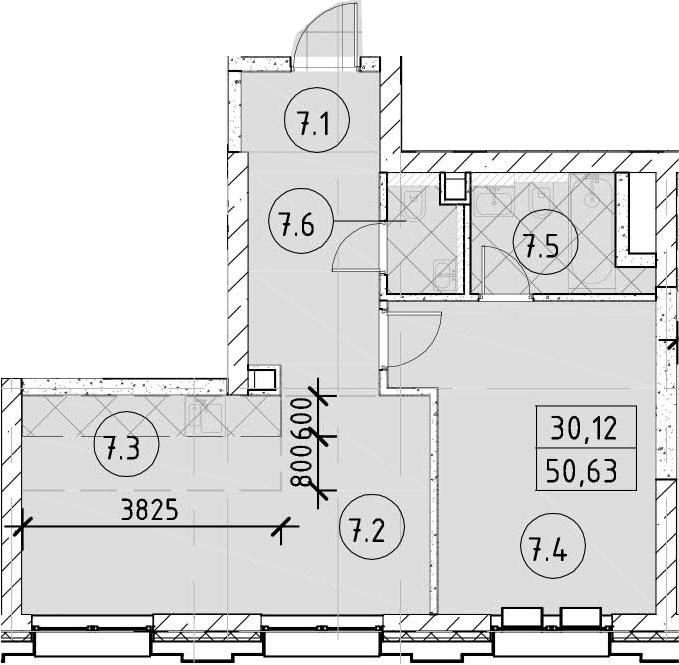 2-к.кв (евро), 50.63 м²