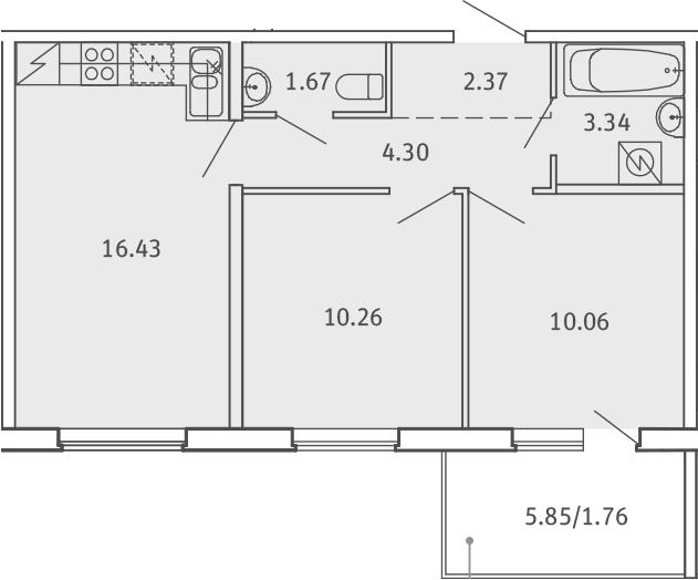 3Е-комнатная, 50.19 м²– 2