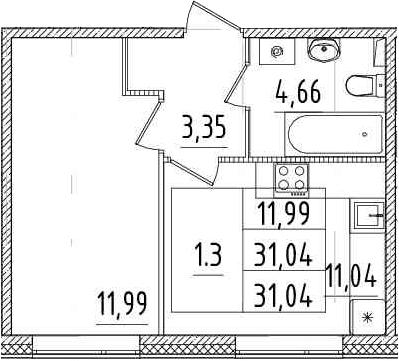 1-к.кв, 31.04 м²