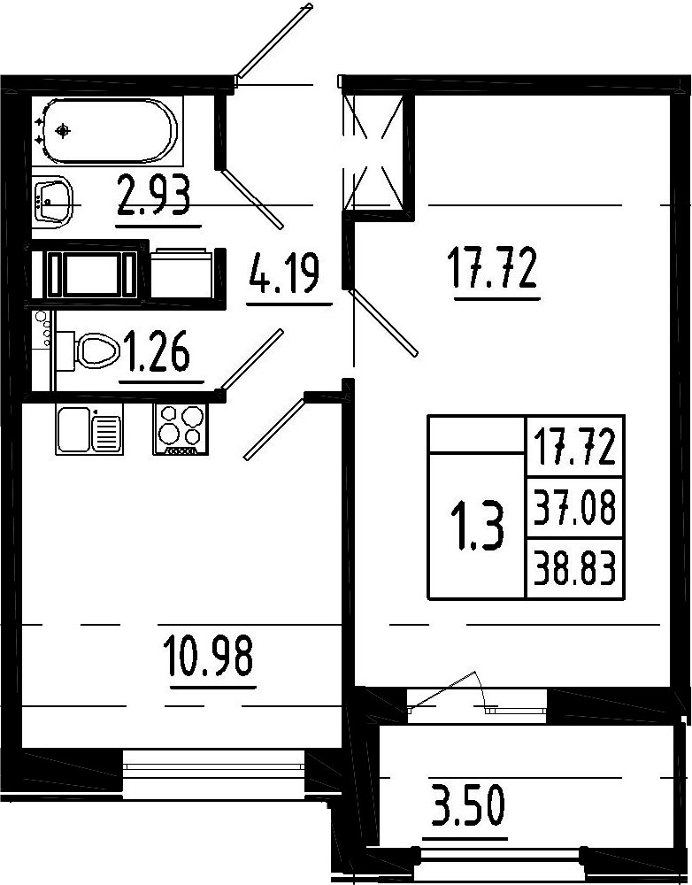 1-к.кв, 40.58 м²