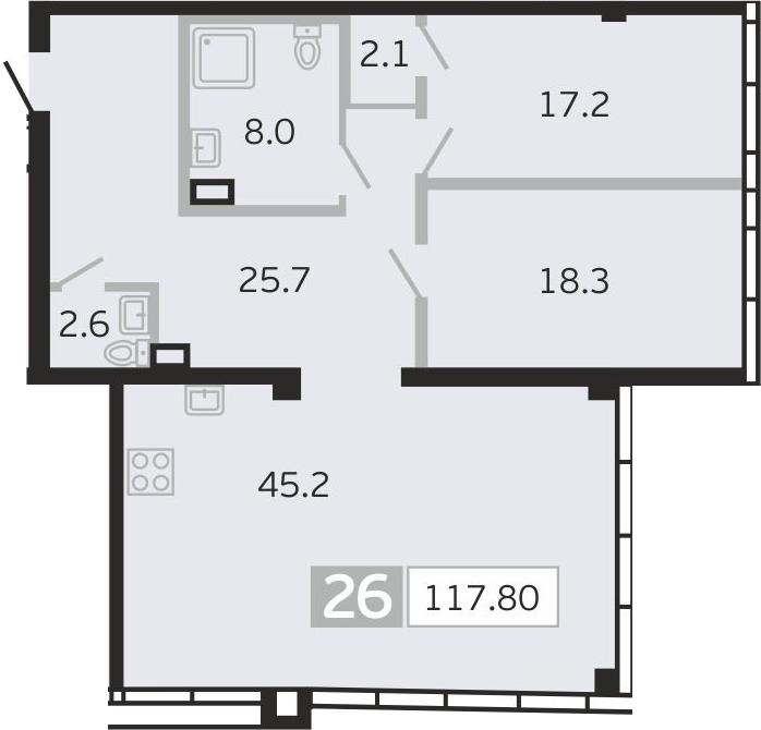 3Е-комнатная, 117.8 м²– 2