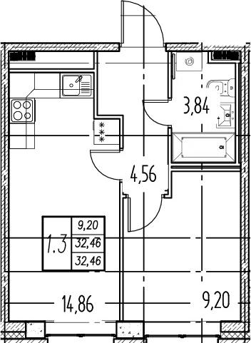 2Е-комнатная, 32.46 м²– 2