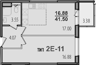 2-к.кв (евро), 44.88 м²