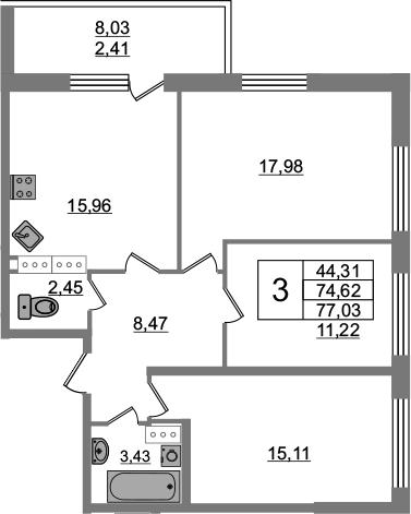 3-к.кв, 82.65 м²