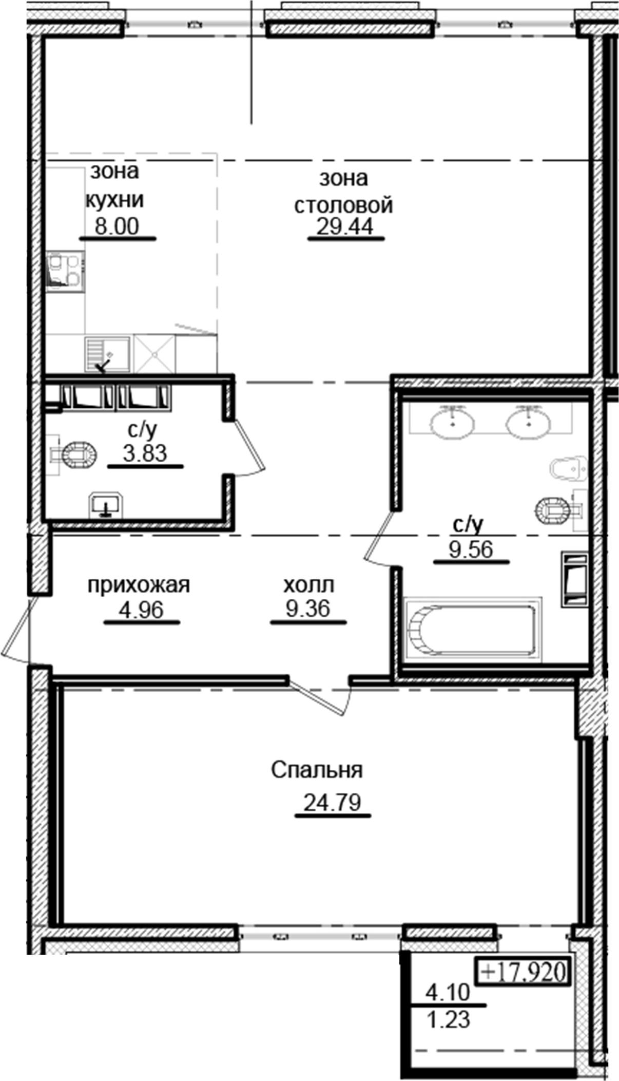 2Е-комнатная, 91.17 м²– 2