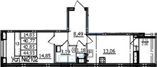 1-комнатная, 40.77 м²– 2