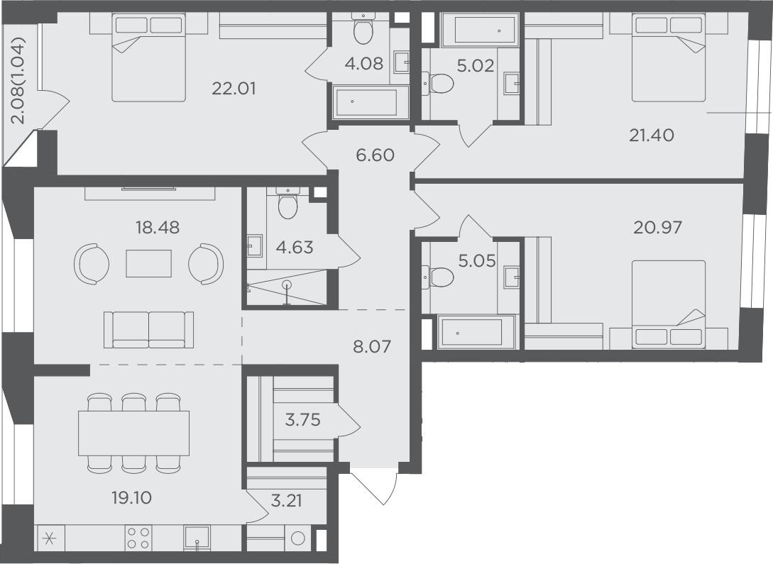 4-к.кв, 143.41 м², 3 этаж