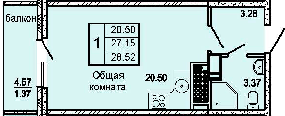 Студия, 31.72 м²