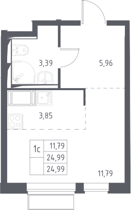 Студия, 24.99 м²– 2